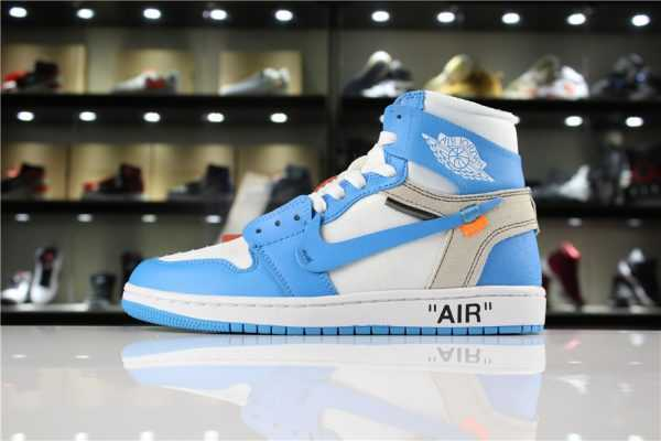 "Off-White x Air Jordan 1 ""UNC"" White/Dark Powder Blue-Cone AQ0818-148"