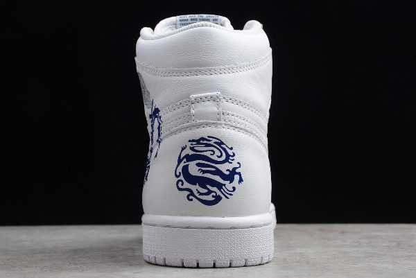 Shop Mens Air Jordan 1 High OG ' ragon' White Blue