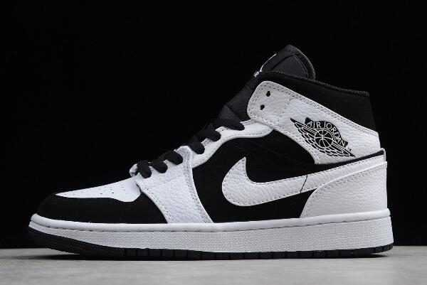 Men' s Air Jordan 1 Mid ' uxedo' White/Black-White 554724-113