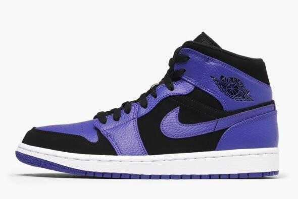 New Air Jordan 1 Mid Purple/Black Dark Concord-White 554724-051