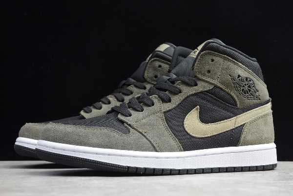 BQ6472-030 Mens and WMNS Air Jordan 1 Mid Military Olive Green 2020 For Sale