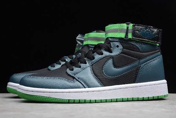 2019 Mens Air Jordan 1 High Strap Black/Teal-White-Light Green Spark