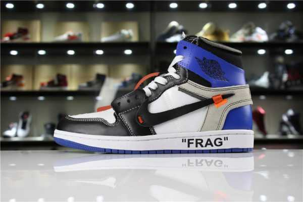Off-White x Fragment Design Air Jordan 1 Custom White/Sport Royal-Black For Sale