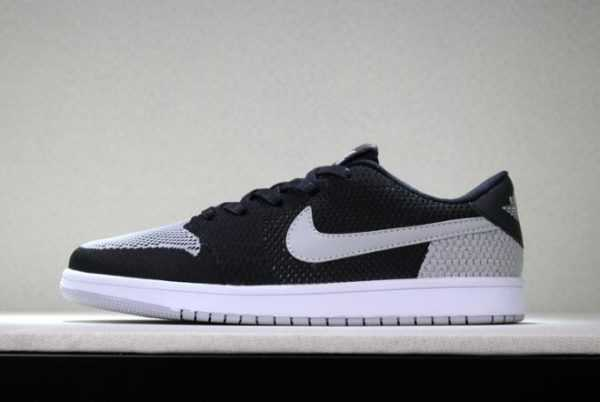 "New Air Jordan 1 Low Flyknit ""Shadow"" Black/Wolf Grey-White Men' s Basketball Shoes"