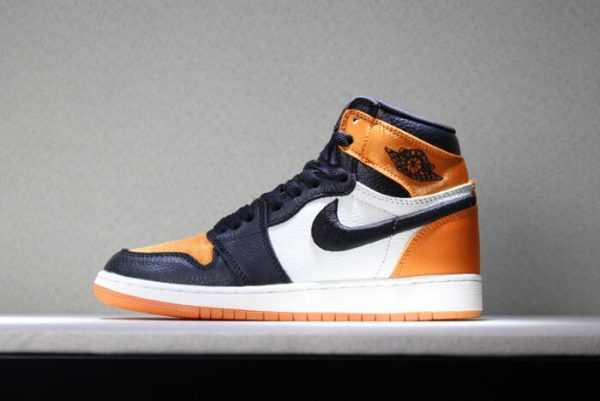 "Men' s and Women' s Air Jordan 1 Satin ""Shattered Backboard"" Black/Starfish-Sail-Black AV3725-010"