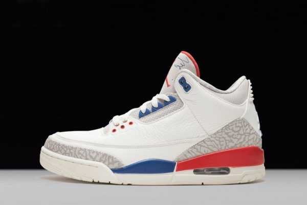2018 New Air Jordan 3 ' nternational Flight' Sail/Sport Royal-Light Bone-Fire Red
