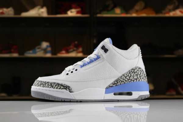 "2018 Air Jordan 3 ""UNC"" PE White/White-Blue 820078 For Sale"