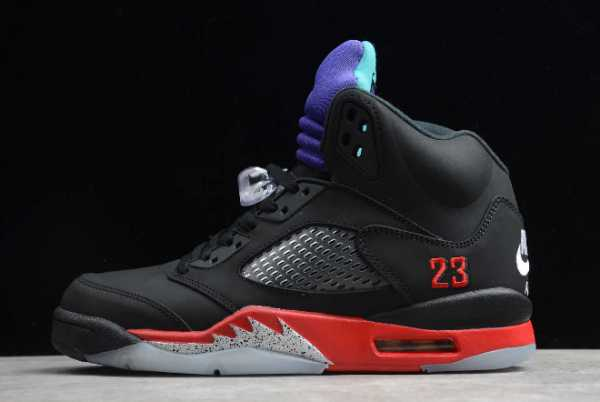 "CZ1786-001 Newest 2020 Air Jordan 5 ""Top 3"" Black/Fire Red-Grape Ice-New Emerald For Sale"